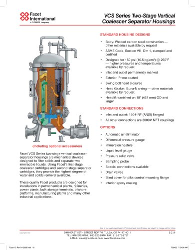VCS series two-stage vertical coalescer separator housings