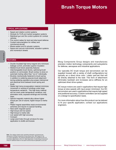 Brush Torque Motors Technical Data Sheet