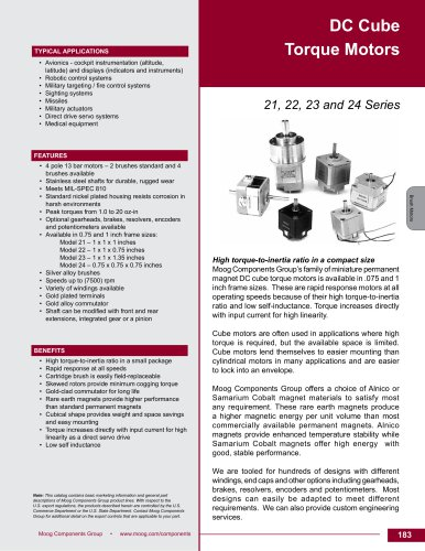 DC Cube Torque Brush Motors Technical Data Sheet