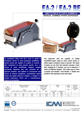 EA-2/EA-2 BE -  MANUAL GUMMED PAPER DISPENSER