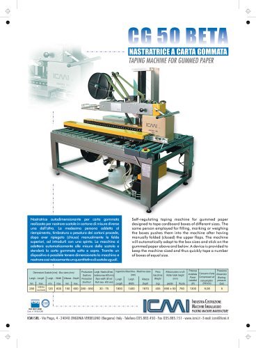 ICMI's taping machines for gummed paper CG50
