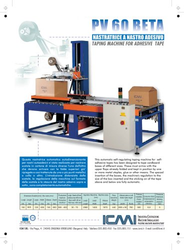 ICMI's taping machines for self-adhesive tape PV 60