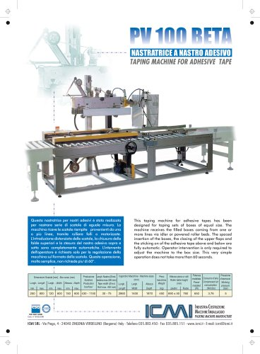 ICMI's taping machines for self-adhesive tape PV100