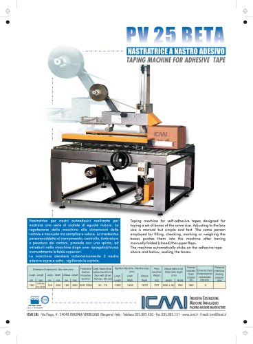 ICMI's taping machines for self-adhesive tape PV25