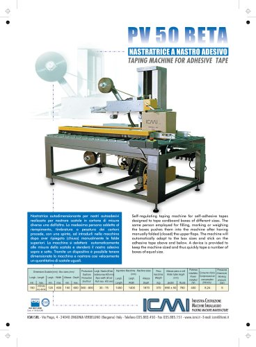 ICMI's taping machines for self-adhesive tape PV50