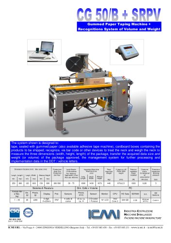 Taping Machine + Recognitions System of Volume and Weight