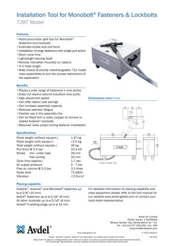 Installation Tool for Monobolt® Fasteners & Lockbolts 7287 Model