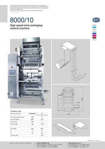 8000/10 | High speed stick packaging vertical machine