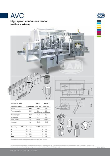 AVC continuous motion vertical cartoner