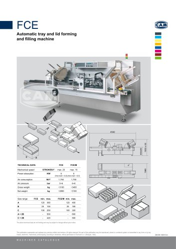 FCE automatic tray and lid forming and filling machine