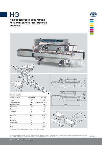 HG continuous motion horizontal cartoner for large size products