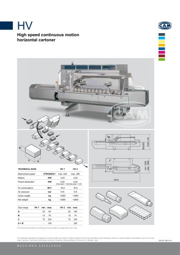 HV continuous motion horizontal cartoner