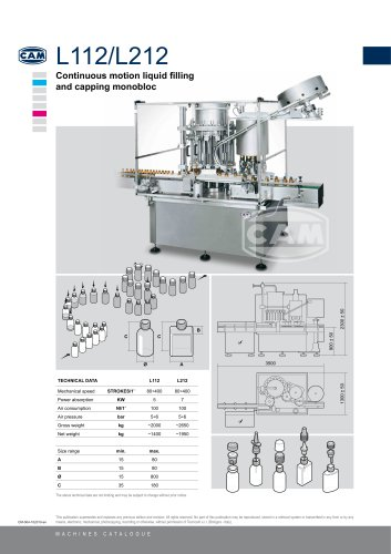 L112/L212 continuous motion liquid filling/capping monobloc