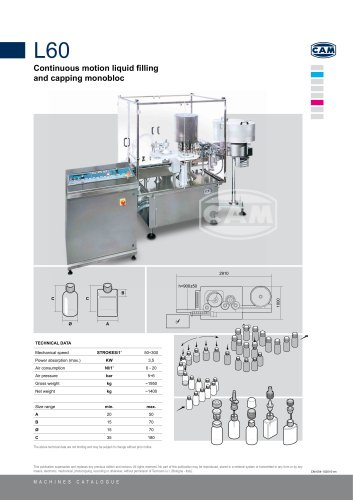 L60 continuous motion liquid filling/capping monobloc
