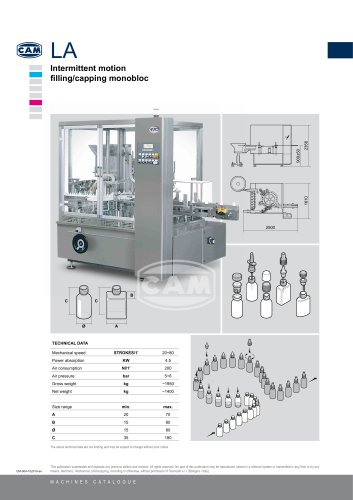 LA intermittent motion filling/capping monobloc