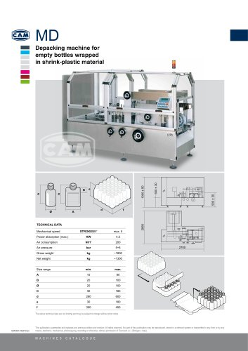 MD depacking machine for bottles wrapped in shrink-plastic material