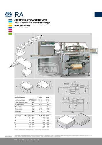 RA automatic overwrapper with heat-sealable material for large size products