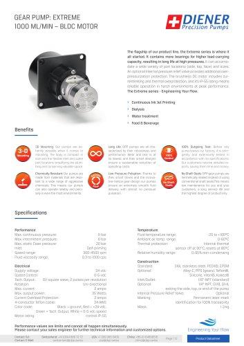 GEAR PUMP: EXTREME1000 ML/MIN – BLDC MOTOR