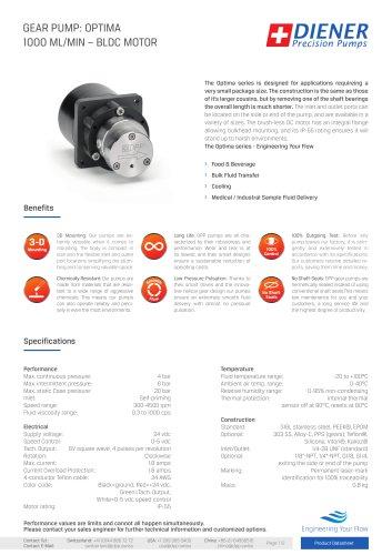 GEAR PUMP: OPTIMA1000 ML/MIN – BLDC MOTOR