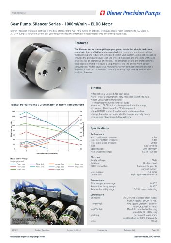 PD 0001A: Gear Pump Silencer Series 1000 ml/min - BLDC Motor