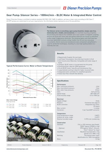 PD 0001B: Gear Pump Silencer Series 1000 ml/min - BLDC Motor & IMC