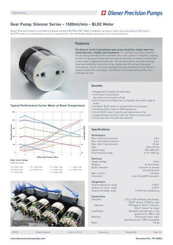 PD 0002A: Gear Pump Silencer Series 1500 ml/min - BLDC Motor
