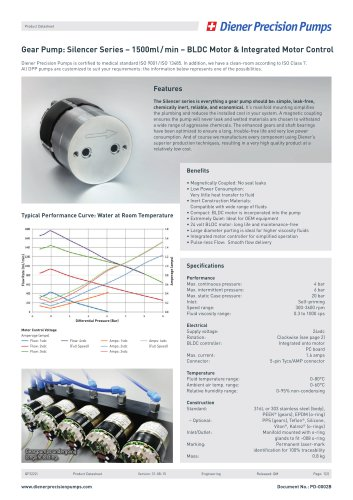 PD 0002B: Gear Pump Silencer Series 1500 ml/min - BLDC Motor & IMC