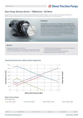 PD 0010: Gear Pump Extreme Series 1000 ml/min - DC Motor
