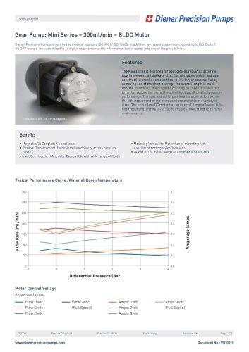 PD 0015: Gear Pump Mini Series - 300 ml/min - BLDC Motor