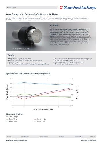 PD 0016: Gear Pump Mini Series - 300ml/min - DC Motor