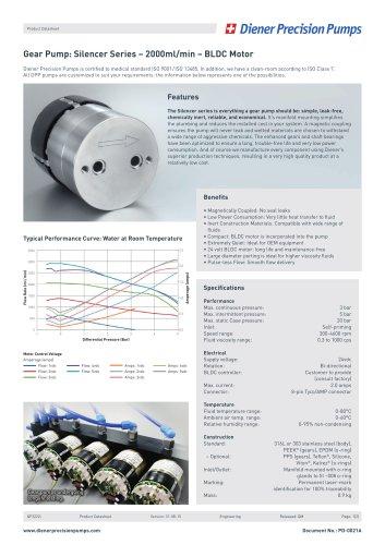 PD 0021A: Gear Pump Silencer Series 2000 ml/min - BLDC Motor