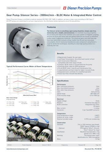 PD 0021B: Gear Pump Silencer Series 2000 ml/min - BLDC Motor & IMC
