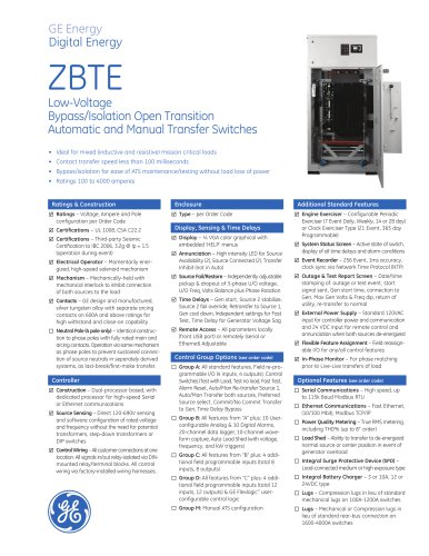 [SCHEMATICS_4PO]  Zenith ZBTE Bypass-Isolation Open Transition - GE Automatic Transfer  Switches - PDF Catalogs | Technical Documentation | Brochure | Zenith Ats Wiring Diagram |  | Catalogs Directindustry