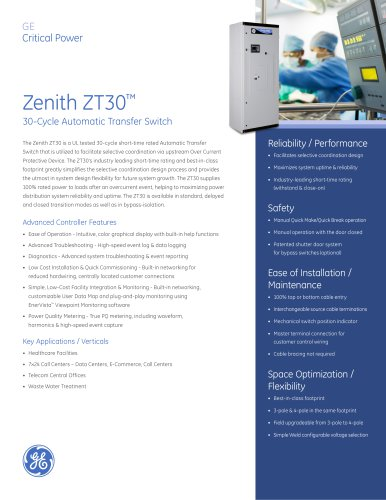 Zenith ZT30 30-Cycle Automatic Transfer Switch