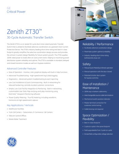 ZT30 Series Standard (Open), Delayed or Closed Transition
