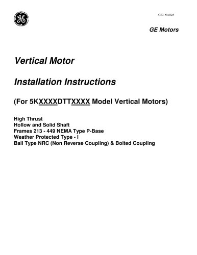 Vertical Motor Installation Instructions