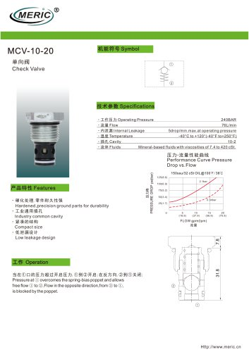 Cartridge check valve MCV-10-20 series