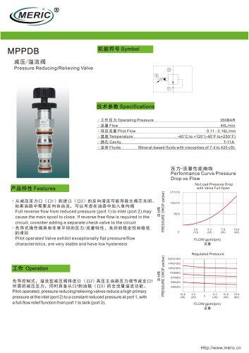 Cartridge pressure relief valve MPPDB series