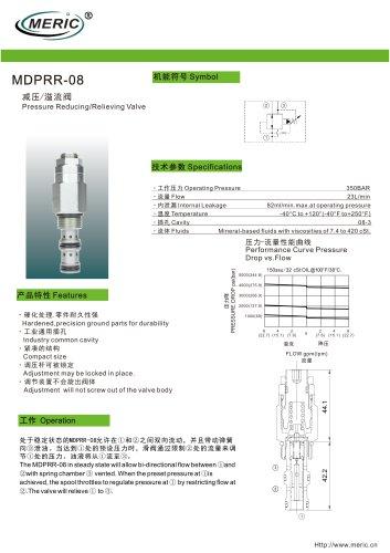 Flow-control pressure relief valve MDPRR-08 series