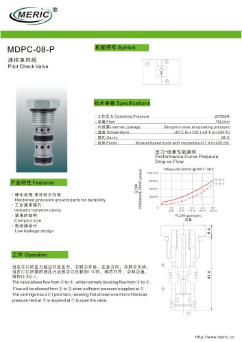 Pilot-operated check valve MDPC-08-P