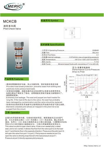Poppet check valve MCKCB series