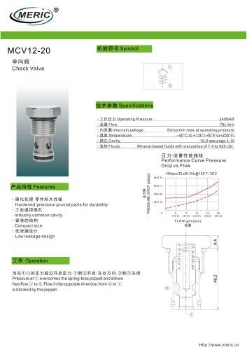Poppet check valve MCV12-20 series