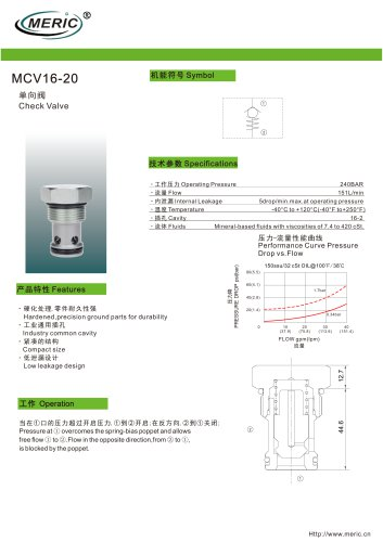 Poppet check valve MCV16-20 series