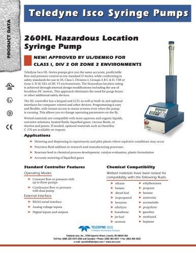 260HL Hazardous Location Syringe Pump