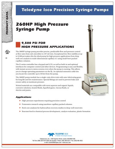 260HP High Pressure Syringe Pump
