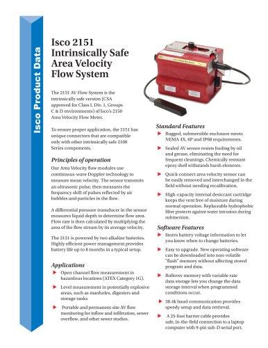 Isco 2151 Intrinsically Safe Area Velocity  Flow System