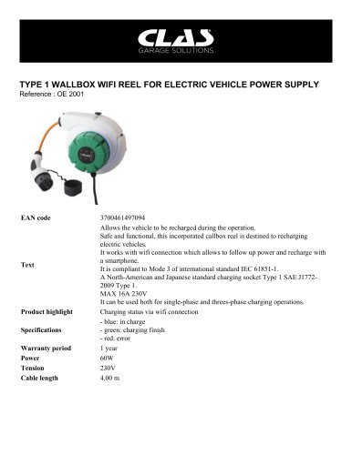 TYPE 1 WALLBOX WIFI REEL FOR ELECTRIC VEHICLE POWER SUPPLY