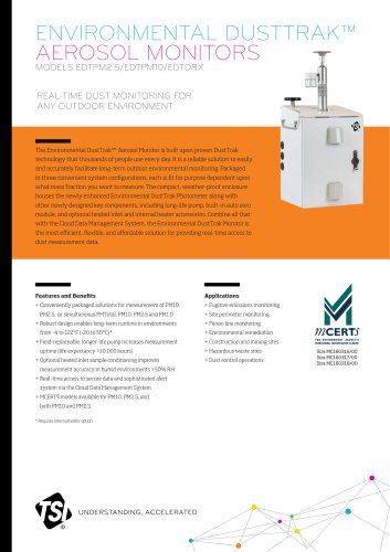 Specsheet ENVIRONMENTAL DUSTTRAK™ AEROSOL MONITORS