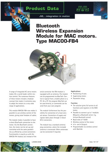 Bluetooth Wireless Expansion Module for MAC motors. Type MAC00-FB4