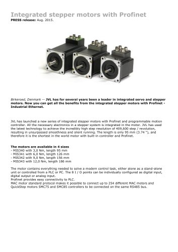 Integrated stepper motors with Profinet 3Nm - 12Nm